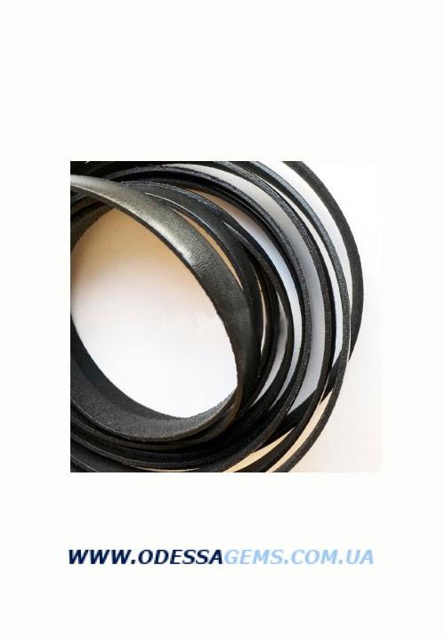 Купить Плоский кожаный шнур 10,0 x 2,0 мм, Черный (Испания)