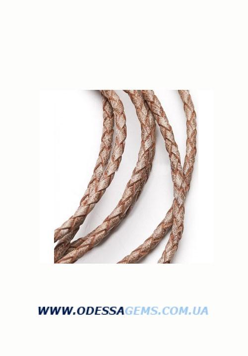 Кожаный плетеный шнур 4,0 мм, Бежевый