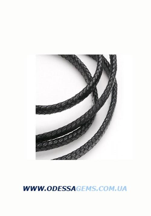 10 х 5 мм, Прямоугольный плетеный кожаный шнур Черный Индия