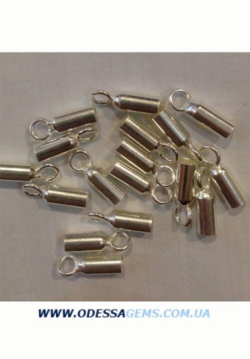 Концевые №1. Серебро. 4 мм. цена за пару