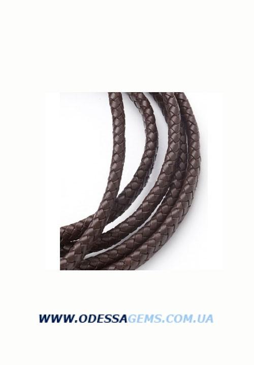 12 х 5 мм, Прямоугольный плетеный кожаный шнур Коричневый Индия