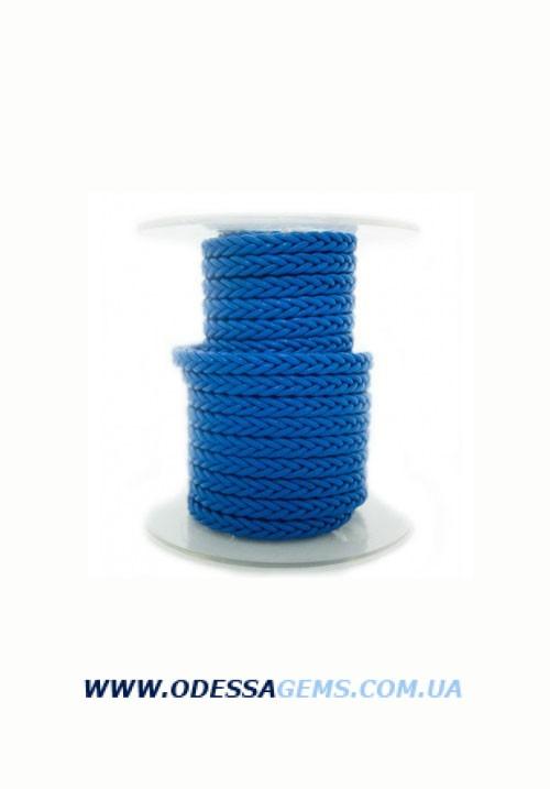Квадратный плетеный кожаный шнурок 5,0 х 5,0 мм Цвет: Синий