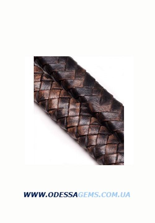 10 x 5 мм, Коричневый Плетеный плоский кожаный шнур SKY Австрия