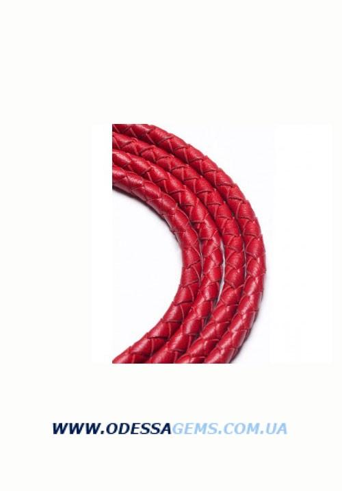 Кожаный плетеный шнур 4,0 мм, Красный SKY Австрия