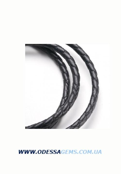 Кожаный плетеный шнур 4,0 мм, Черный Испания