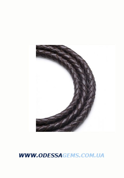 Кожаный плетеный шнур 2 6,0 мм, Коричневый SKY Австрия