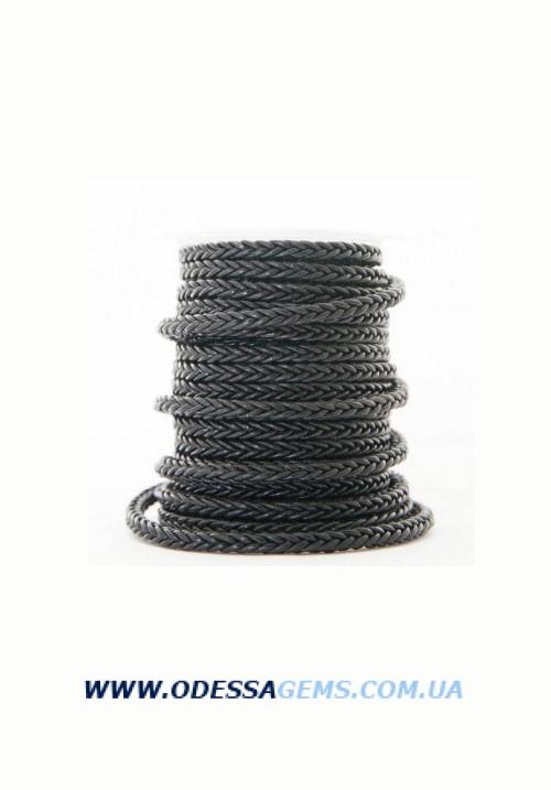 Купить Квадратный плетеный кожаный шнурок 5.0 х 5.0 Цвет: Черный