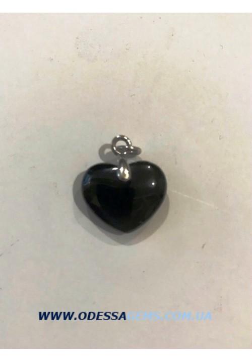 Подвеска ониксовая с серебряным кольцом в виде сердца