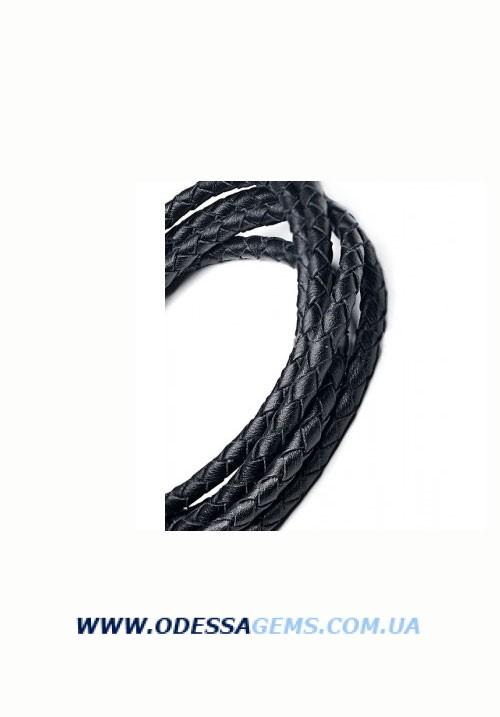 Кожаный плетеный шнур 3,5 мм, Черный SKY Австрия