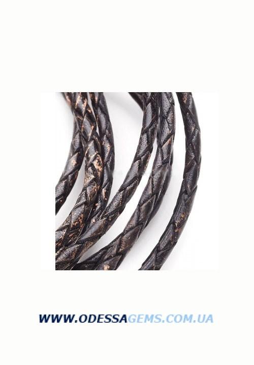 Кожаный плетеный шнур 3,0 мм, Черный антик
