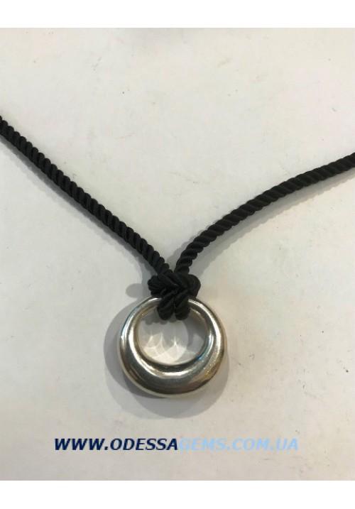 Подвеска ониксовая с серебряным кольцом в виде полумесяца