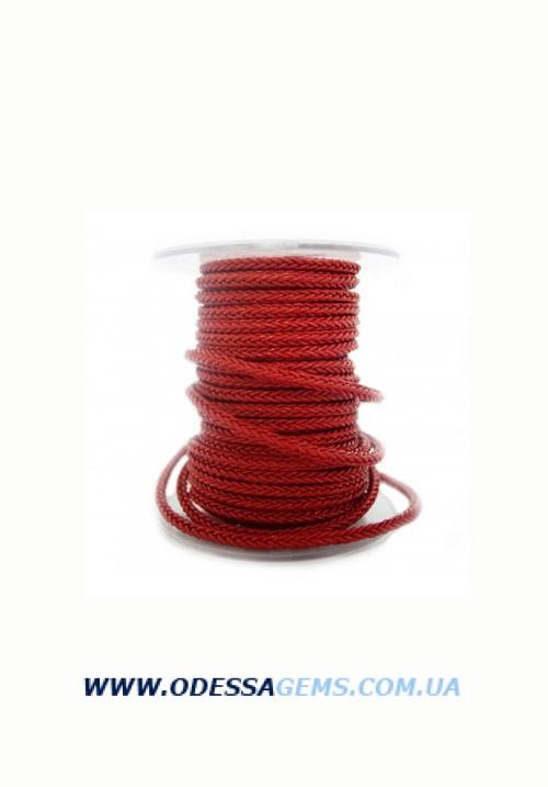 Квадратный плетеный кожаный шнурок 4.0 х 4.0 Цвет: Красный