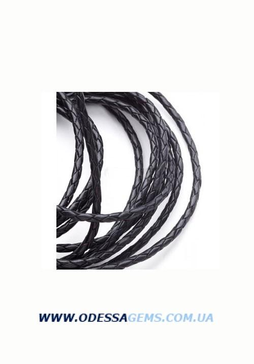 Кожаный плетеный шнур 3,0 мм, Черный Индия