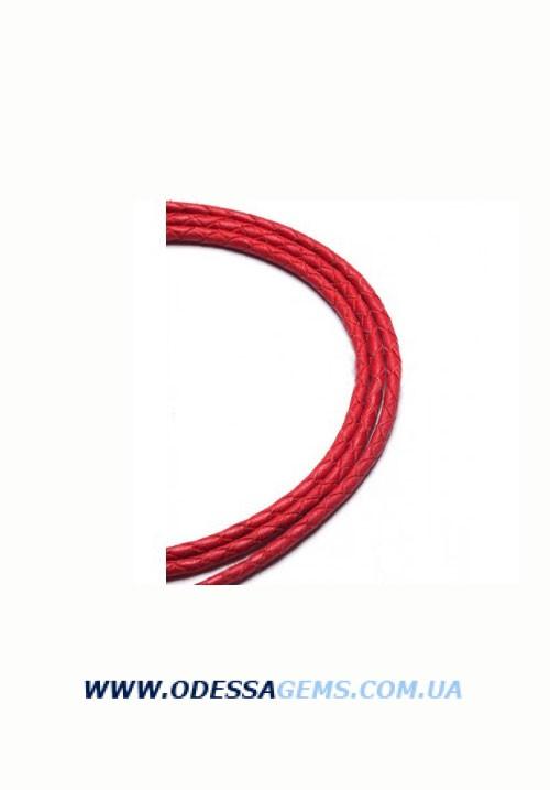 Кожаный плетеный шнур 2,5 мм, Красный SKY Австрия
