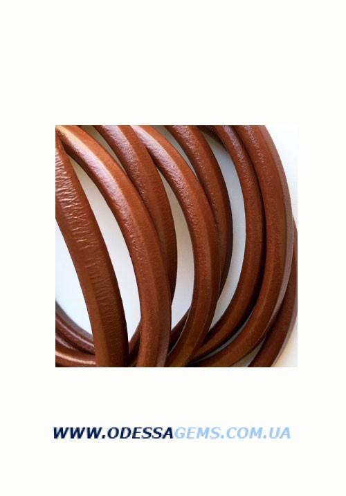 Кожаный шнур Regaliz 10 х 5 мм, Цвет: Коричневый (Испания) цена указанна за 1 см