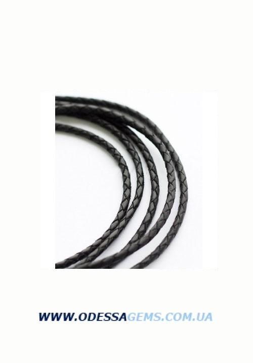 Кожаный плетеный шнур 3,0 мм, Черный SKY Австрия