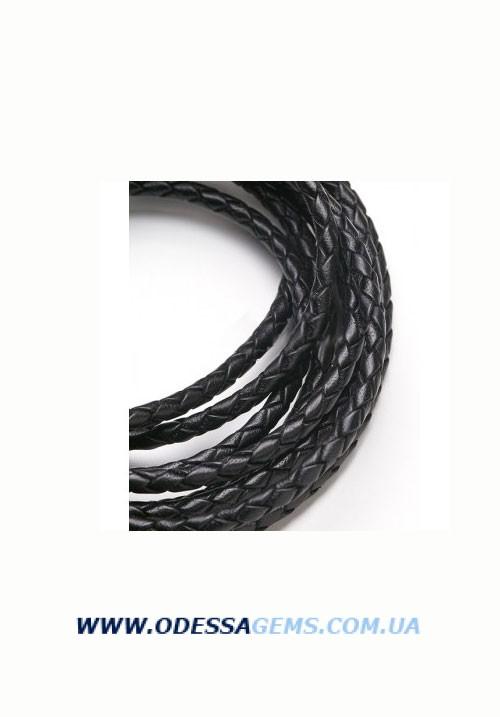 Кожаный плетеный шнур 4,0 мм, Черный Индия