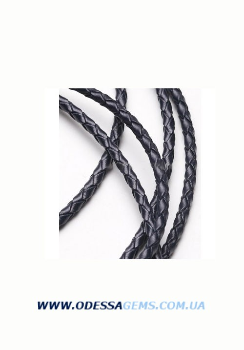 Кожаный плетеный шнур 3,0 мм, Черный