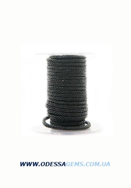 Купить Квадратный плетеный кожаный шнурок 4.0 х 4.0 Цвет: Черный