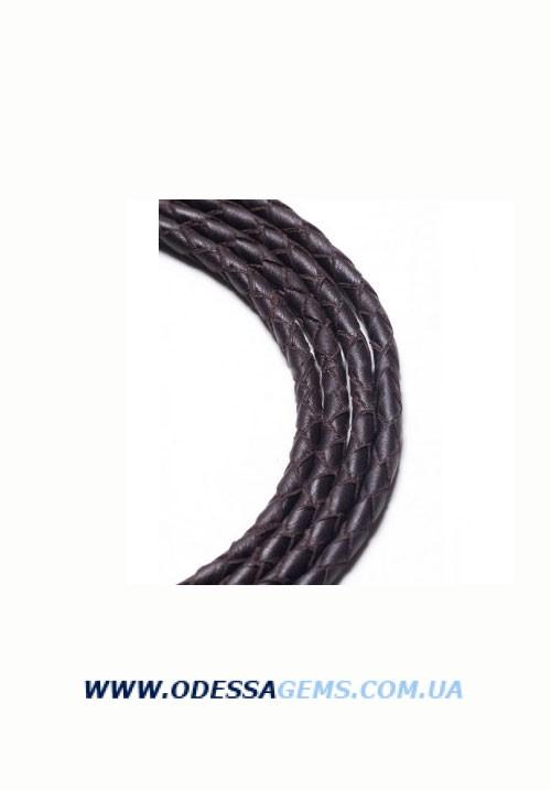 Кожаный плетеный шнур 4,0 мм, Коричневый SKY Австрия