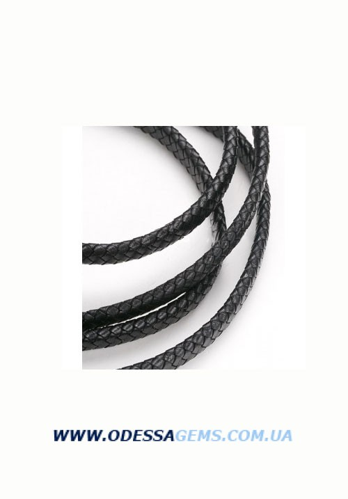 12 х 5 мм, Прямоугольный плетеный кожаный шнур Черный Индия