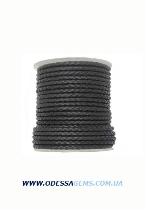 Кожаный плетеный шнур 4,0 мм, Черный Италия