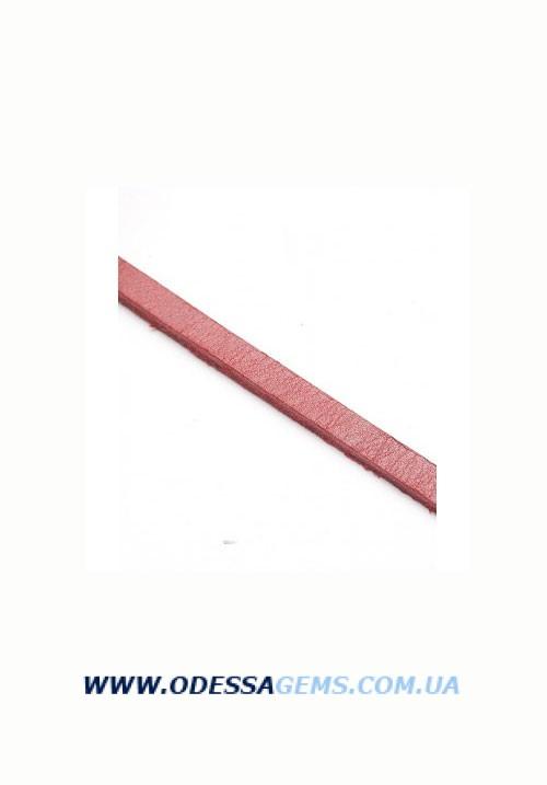 Купить Плоский кожаный шнур 6 х 3 Цвет: Красный
