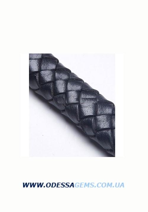 Купить 11 x 7 мм, Черный Плетеный плоский кожаный шнур SKY Австрия