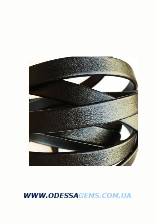 Купить Плоский кожаный шнур 10 x 2 мм, Черный (Испания)