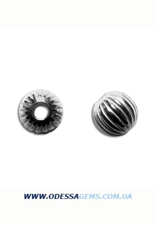Серебряные бусины 925 рифленые